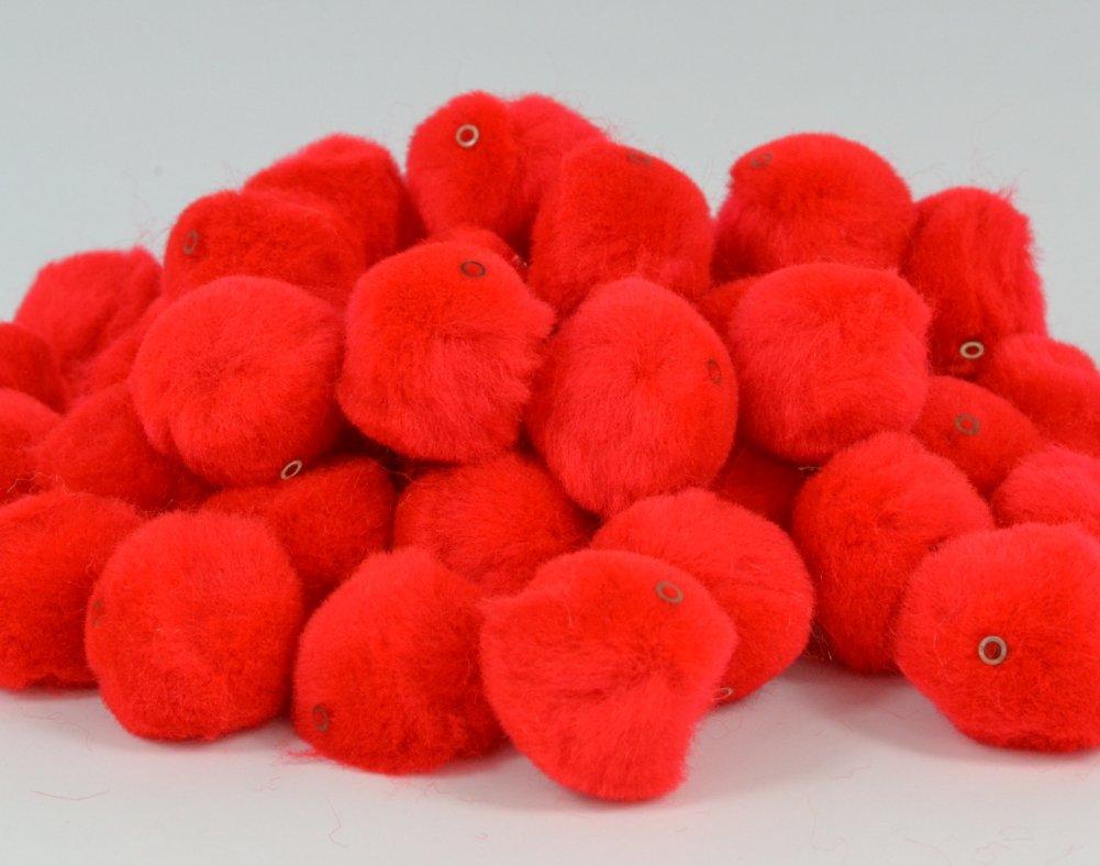 Trimits HP3R/rosso-Pon pon con fori per realizzare peluche, 25 mm, confezione da 50 Groves