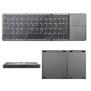 Alician Portable Mini Three Folding Bluetooth Keyboard Wireless Foldable Touchpad Keypad for iOS//Android//Windows Black