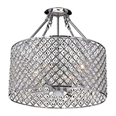 EDVIVI ESG802CH Marya 4 Light Drum Semi Flush Mount Crystal Chandelier Chrome Finish, Round