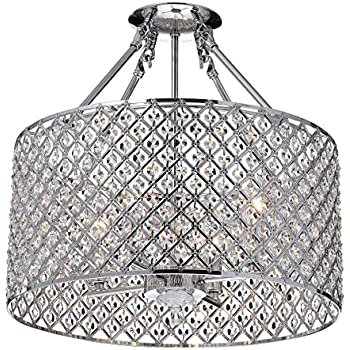 Amazon Com Edvivi Marya 4 Lights Chrome Round Drum Semi Flush Mount