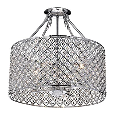 "Marya 4-Light Chrome Round Shade Crystal Semi Flush Mount Chandelier Ceiling Fixture, Beaded Drum Shade - Chrome finish round drum shade semi flush mount chandelier ceiling light Dimensions: 16.75"" W x 16.75"" D x 16"" H; Shade 8.7"" H Suggested Room Size: 160 - 360 sq ft - kitchen-dining-room-decor, kitchen-dining-room, chandeliers-lighting - 61KQaXbLtzL. SS400  -"