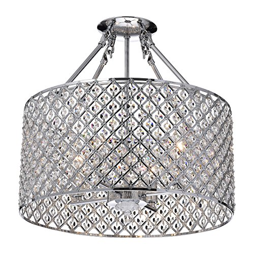 (Marya 4-Light Chrome Round Shade Crystal Semi Flush Mount Chandelier Ceiling Fixture, Beaded Drum)