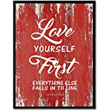 Love Yourself First Everything Else Falls Into Line - Lucille Ball Inspirational Quote Saying Canvas Print Picture Frame Home Decor Wall Art Gift Ideas