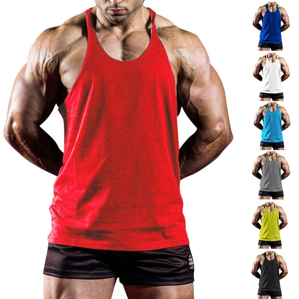 Hot!Men's Solid Color Thin Shoulder Strap Tank Tops Ninasill Off Shoulder Sleeveless Tops Sporty Fitness Casual T-Shirt Light Blue by Ninasill Man Tops (Image #3)