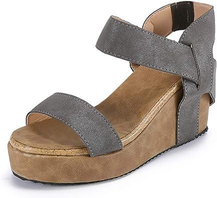 KItipeng Chaussures Femme Sandale Talon Compense ÉTé,Pas Cher Grande Taille Bout Ouvert Respirant avec Bande éLastique, Romaines Sandale De