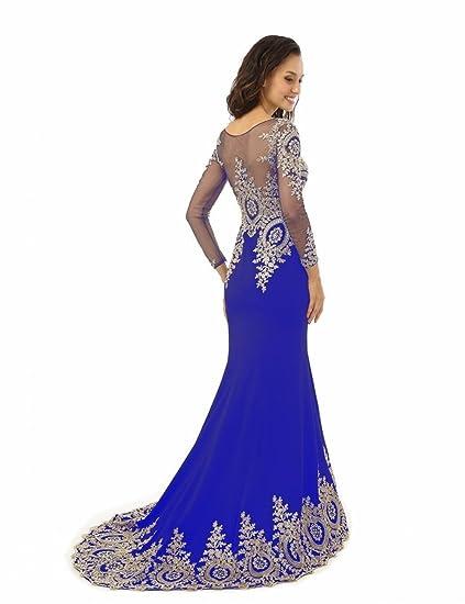 bf86fa4b85 King's Love Women's Rhinestone Long Sleeve Mermaid Evening Dress