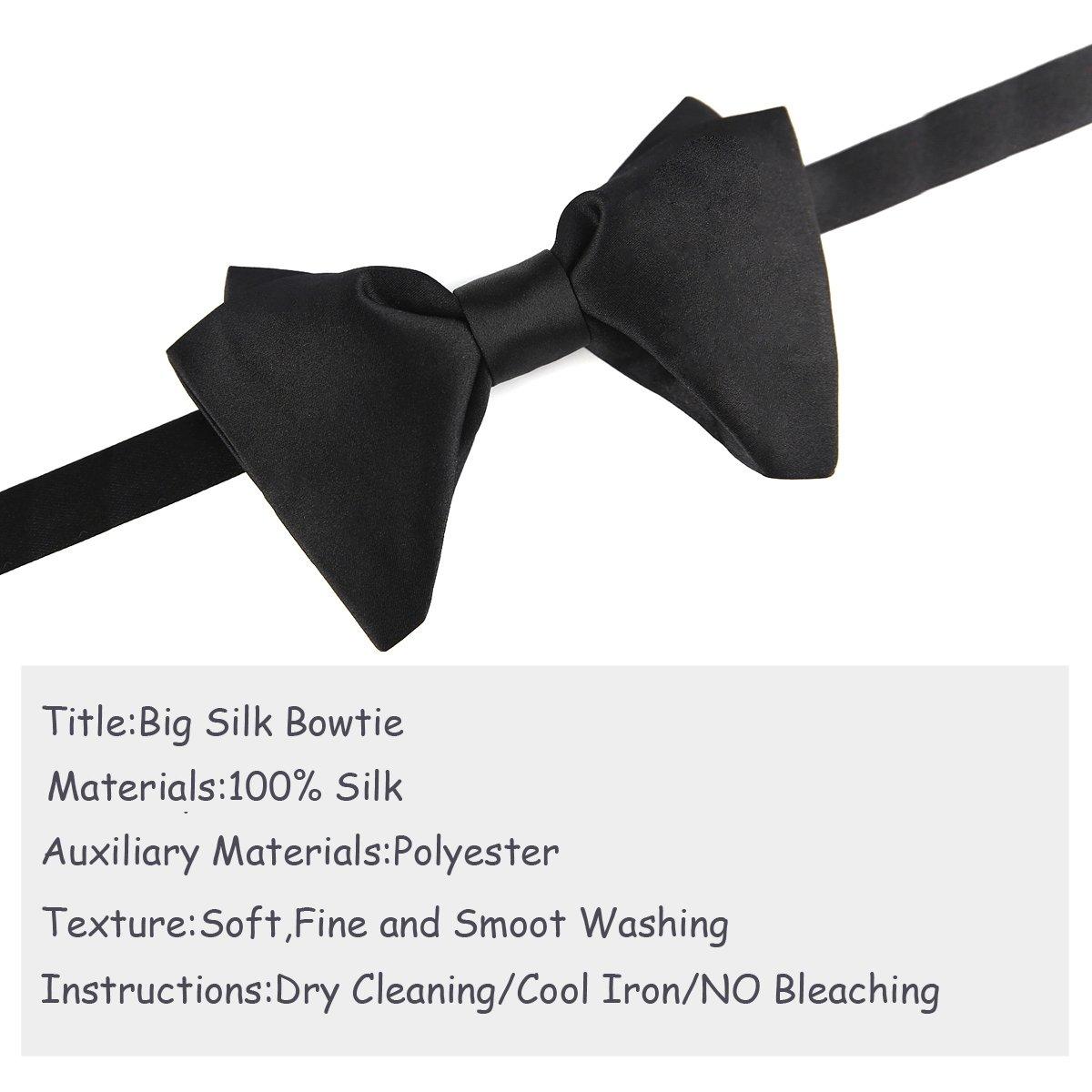 Mens 100 Silk Oversized Pre Tied Bowtie Handmade Solid Formal