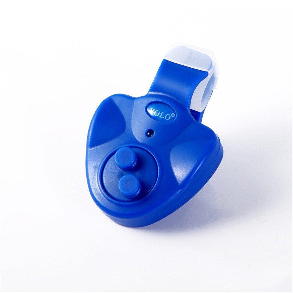 Roblue Détecteur Electronique Sensible Alarme de Touche de la Canne à Pêche Sondeur avec Indicateur LED pour Pêche Nuit Pêche en Plastique 55 * 50 * 15mm