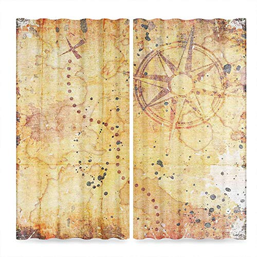 (Island Map Window Blackout Curtains,Antique Treasure Map Grunge Rusty Style Parchment Print History Theme Boho Design,for Bedroom Living Dining Room Kids Youth Room, 2 Panel Set,37W X 51L Inches)