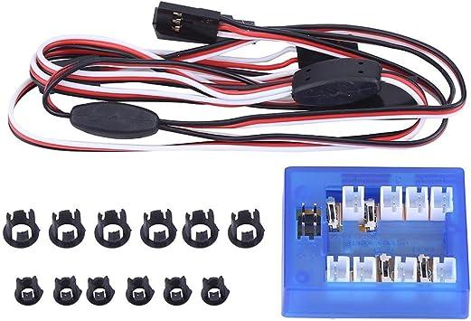 Assemblare Il Kit del Sistema di Illuminazione Luci 12 LED per 1//10 Auto Camion Crawler Dilwe Kit LED per Auto RC