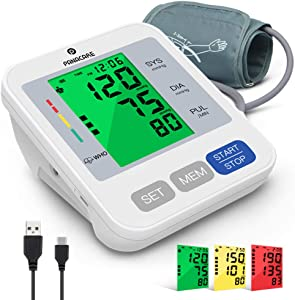 """Blood Pressure Machine for Upper Arm 3.4'' Tri-Color Backlight Screen, PANACARE Automatic Electronic Blood Pressure Meter Monitor, BP Monitor Machine, Audio Reading, 8.7-16.5"""" XL Cuff for Home Use"""
