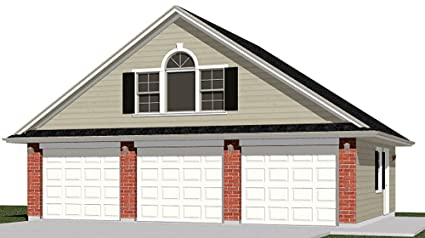 Garage Plans : 3 Car With Attic Truss Loft - 1208-1B - 32'-10 x 26' - three  car - By Behm Design