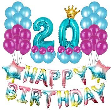 Amycute 67 pcs Decoracion Cumpleaños de 20 Años, Globos de ...