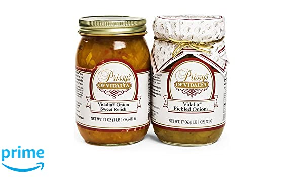 Prissy's of Vidalia Sweet Onion Relish & Pickled Onion (COMBO Pack), 16 Oz,  Fat FREE, ALL