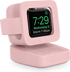 Compatible with Apple Watch Charger Stand, MAPUCE Apple Watch Charging Station for iWatch Stand Charging Dock Silicone for iWatch Series 6 SE 5 4 3 2 1, Supports Nightstand Mode(Pink)