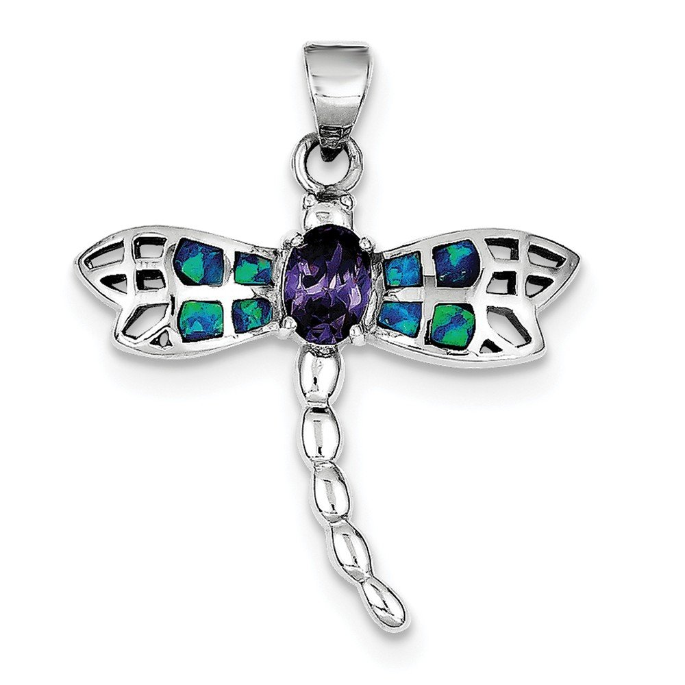 Sterling Silver Rhodium Plated Blue Inlay Synthetic Opal Dragonfly Oval Pendant