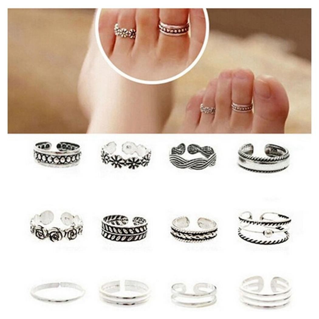 Wholesale 12pcs Celebrity Fashion Simple Sliver Carved Flower Toe Ring Jewelry C by ShiningLove 401117125101_XY0