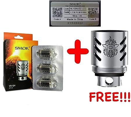 [100% AUTHENTISCH [3 + 1 angeboten DansLesVapes] 4er Pack Verdampferköpfe SMOK SMOKTECH TFV8 V8 Q4 0.15 ohm oder T10/T6/T8/RB