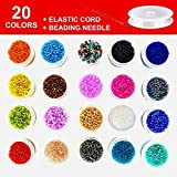 2mm Glass Seed Beads - Tiny Round Beads Kit for Jewelry Making & DIY Bracelet, Necklaces, Earrings and Kid Jewelry Making. 20 Colors, Approx. 20000 Pcs with Elastic Beading Cord & Beading Needle