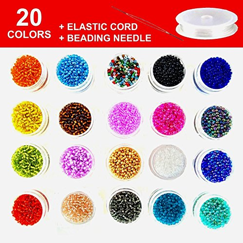 Multicolor Beading Glass Seed Beads - Deluxe 2mm Round Seed Beads Kit for DIY Bracelets, Necklaces, Earrings and Kids Jewelry Making. 20 Colors, Approx. 20000 Pcs with Elastic Cord & Beading Needle by Modda