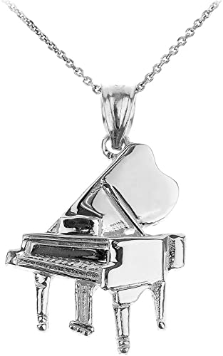 """20/"""" Black Necklace New  X Large 3-D Music MUSICAL NOTE Silver-tone Pendant 18/"""""""