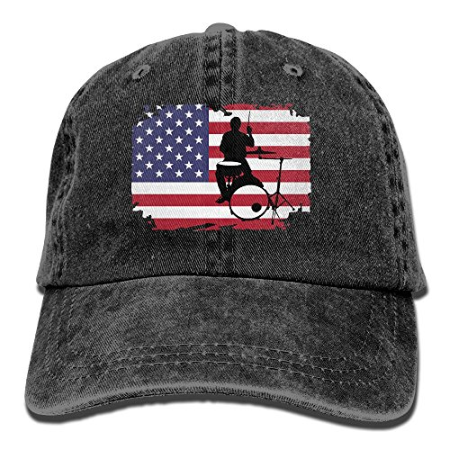 Denim Baseball Cap Drummer with American Flag-1 Men Golf Hats Adjustable Dad Hat