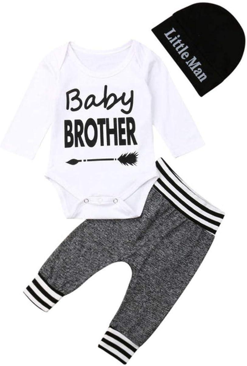 0-12m bebé Canastilla de Ropa de bebé de la Letra Pantalones de Manga Larga Guardapolvos Polainas + de los Sombreros de impresión