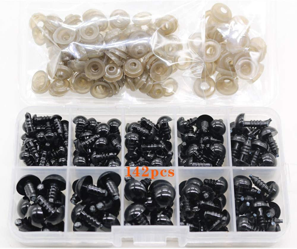 Ojos para Manualidades, 142 Piezas Ojos de Seguridad Amigurumis de Plástico, Ojos Seguridad Negro para Oso de Peluche Oso Muñeca Amigurumis Marioneta (6-12mm)