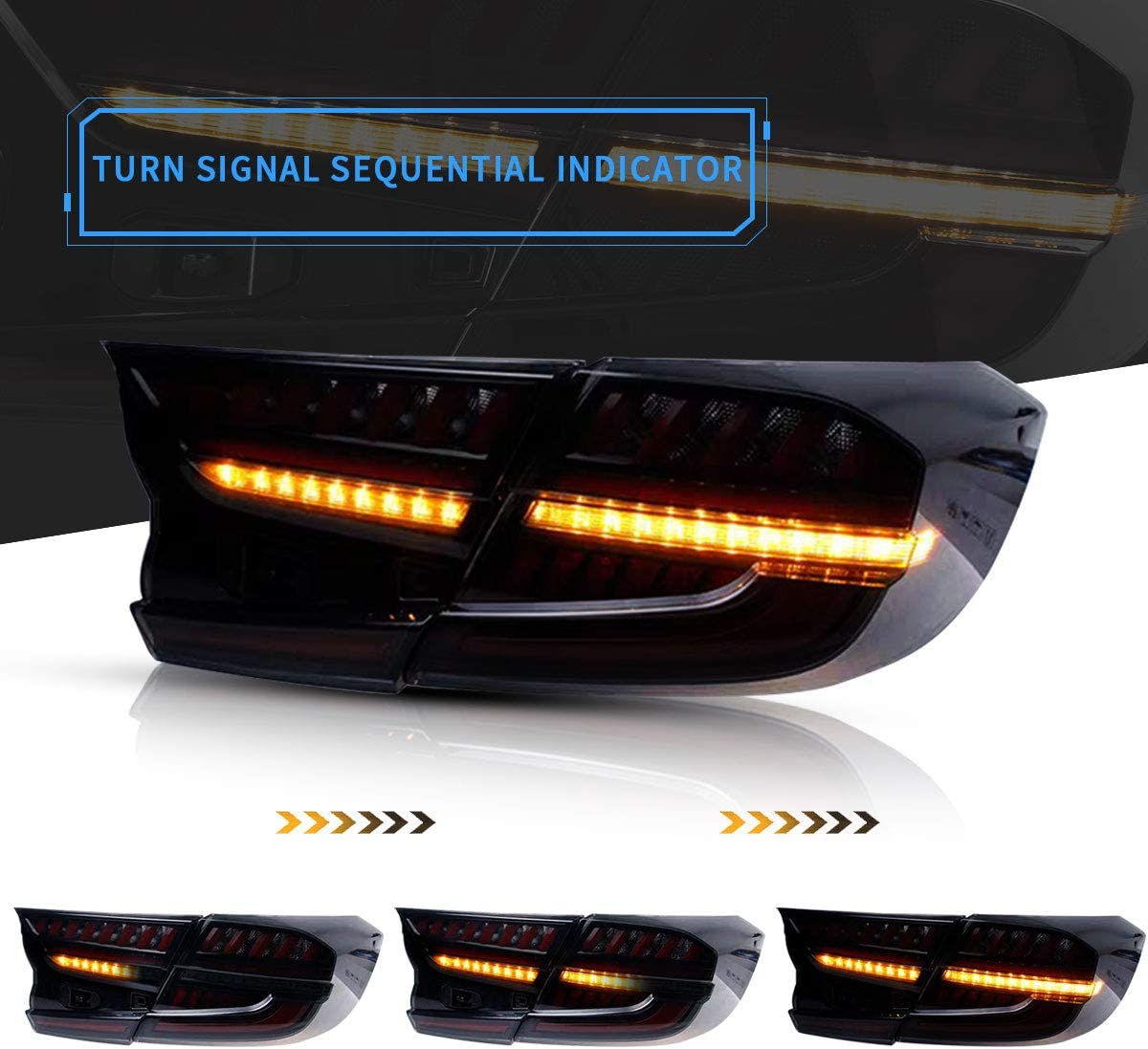 VLAND LED Tail Lights for 2018 2019 X Gen Honda Accord with Amber Sequentiall Turn Signal Smoked//Tinted