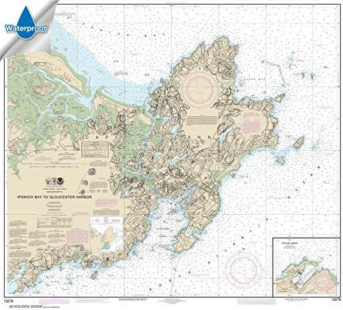 Paradise Cay Publications NOAA Chart 13279: Ipswich Bay to Gloucester Harbor; Rockport Harbor 35.5 x 39.8 (Waterproof)