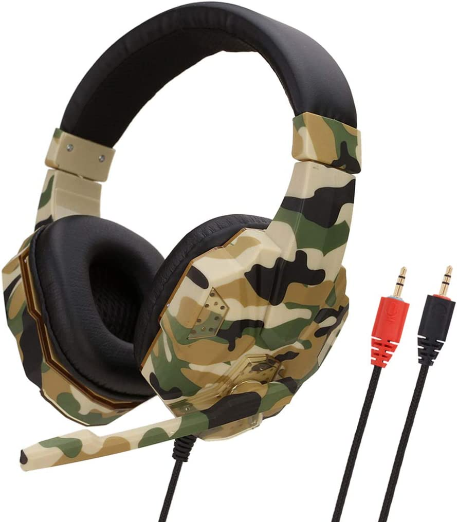 MeterMall Useful for Earphone Gaming Headset Camouflage Headphones with Microphone for PC Laptop Camouflage Gray USB Edition