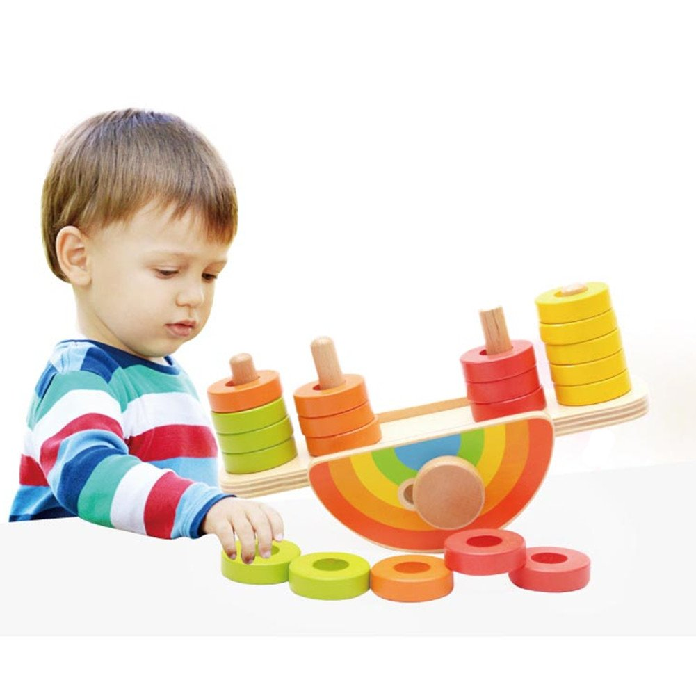 ZaH Rainbow Wooden Toys Kids Balance Stacking Blocks Baby Toddler Infant Balancing Games Learning Educational Toy Playset (20pcs 1 Stand)