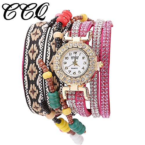 Women Wrist Watch Hosamtel Fashion Rhinestone Weaved Rope Band Bracelet Quartz Dial Watch (Rose Gold)