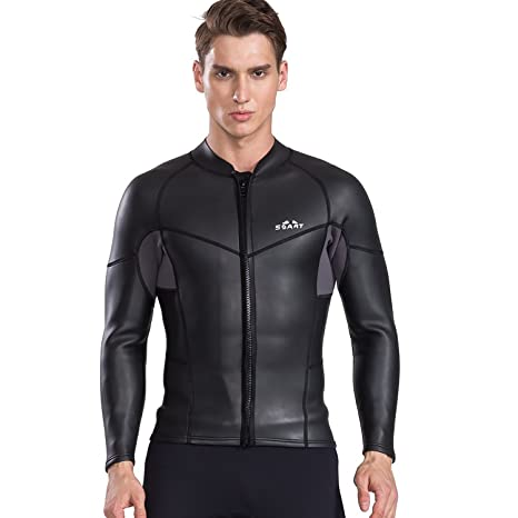 64d8b289ac Image Unavailable. Image not available for. Color  Cahayi Women Men 2mm Neoprene  Long Sleeve Diving Jacket Front Zipper Wetsuit Top
