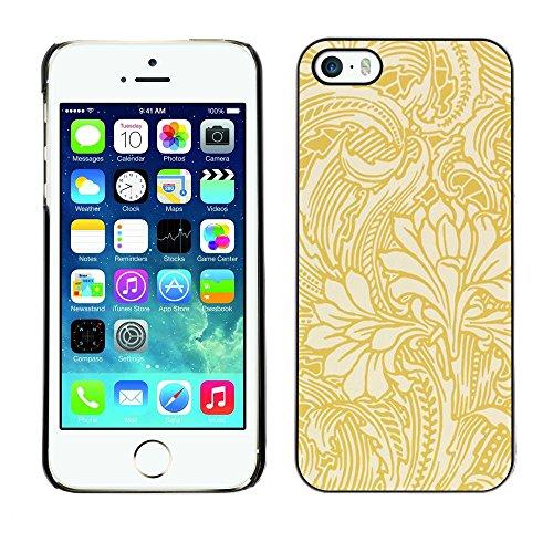 TopCaseStore / caoutchouc Hard Case Housse de protection la Peau - Gold Wallpaper Floral Beige Flowers - Apple iPhone 5 / 5S