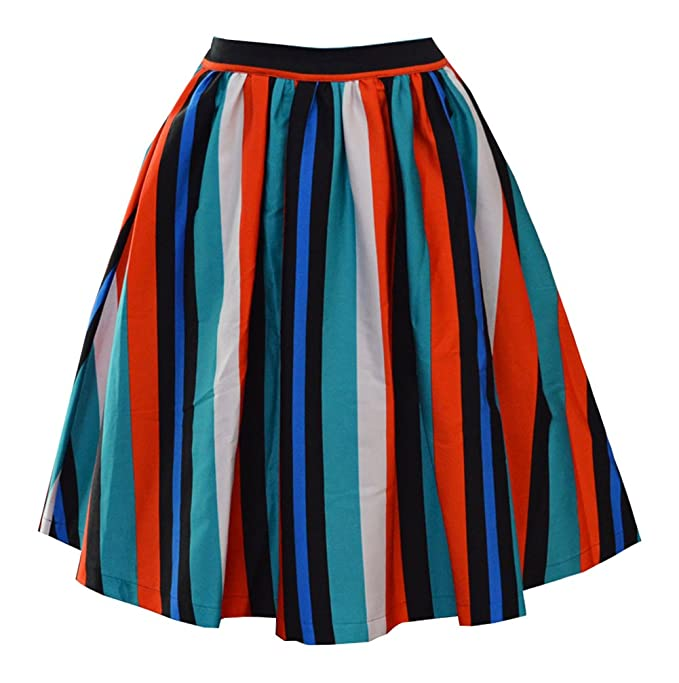 1960s Style Skirts Tecrio Womens 50s 60s Vintage Style Floral/ Plaid/ Checkered/ Stripes Skirts $28.62 AT vintagedancer.com
