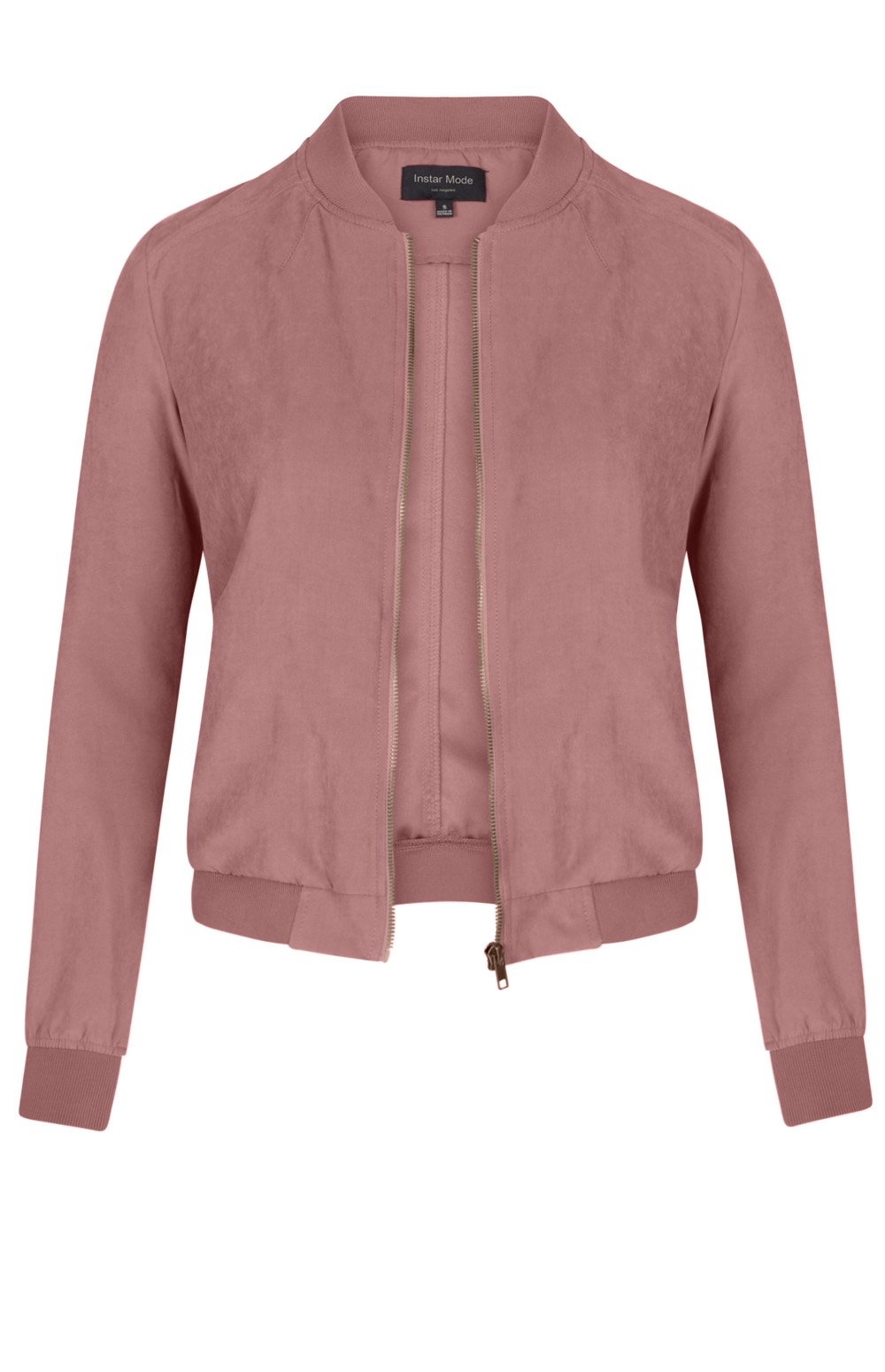 Instar Mode Women's Quilted Classic Solid Zip Up Short Bomber Jacket Padded Coat (JK00515 D/Rose, Medium)