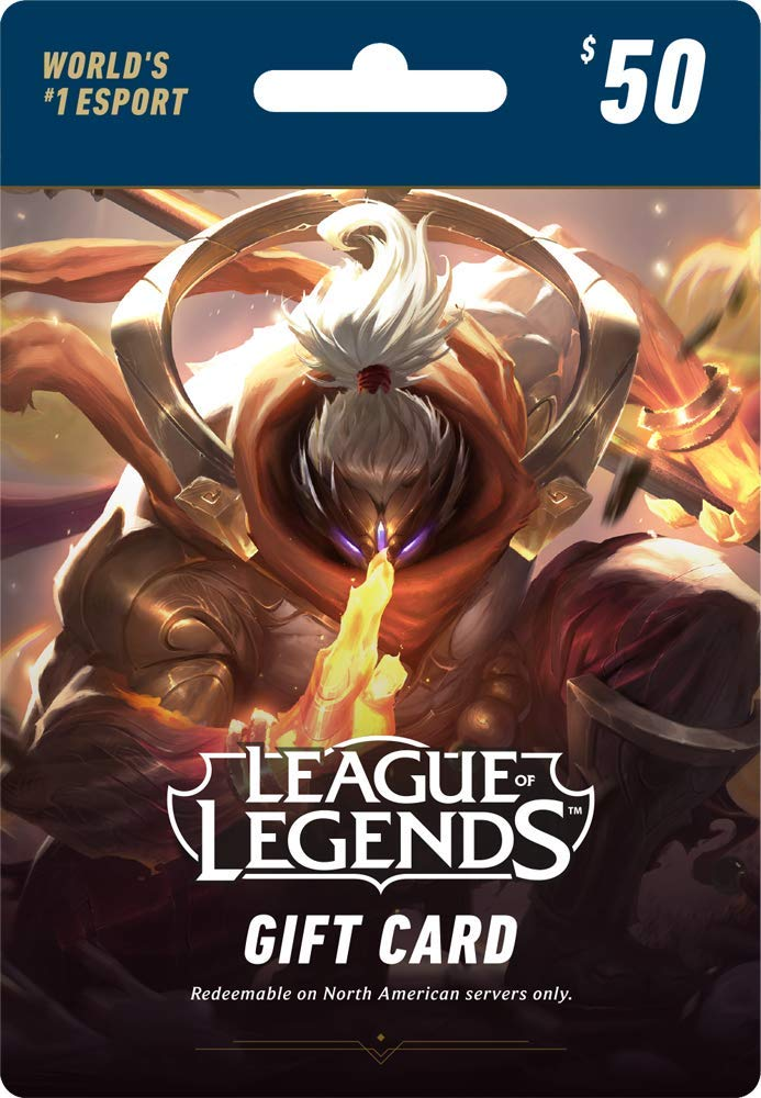 League of Legends $50 Gift Card - 7200 Riot Points - NA Server Only [Online Game Code]