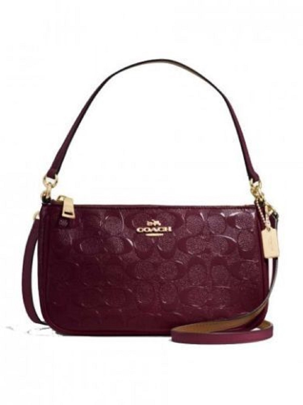 Coach Top Handle Pouch In Debossed Patent Leather Oxblood F56518