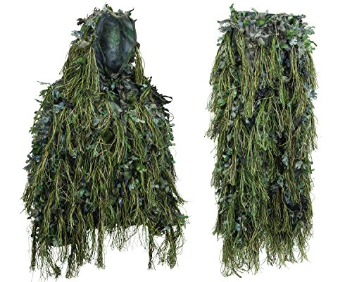 Hybrid Woodland Camouflage Ghillie Hunting Suit Light Weight (WOODLAND GREEN, MED/LG)