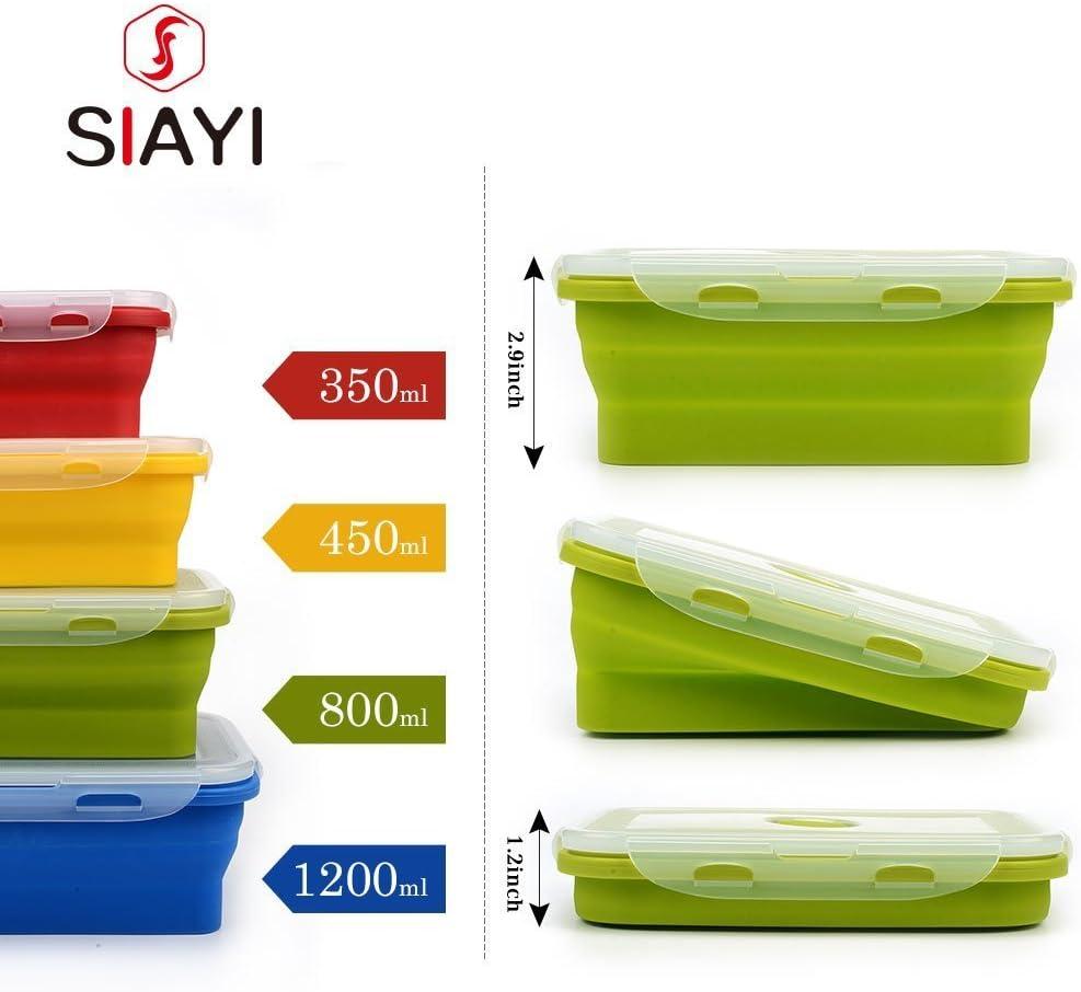 Gel di silice. Contenitore per il pranzo pieghevole in silicone As the description per microonde Verde HYhy a singolo strato