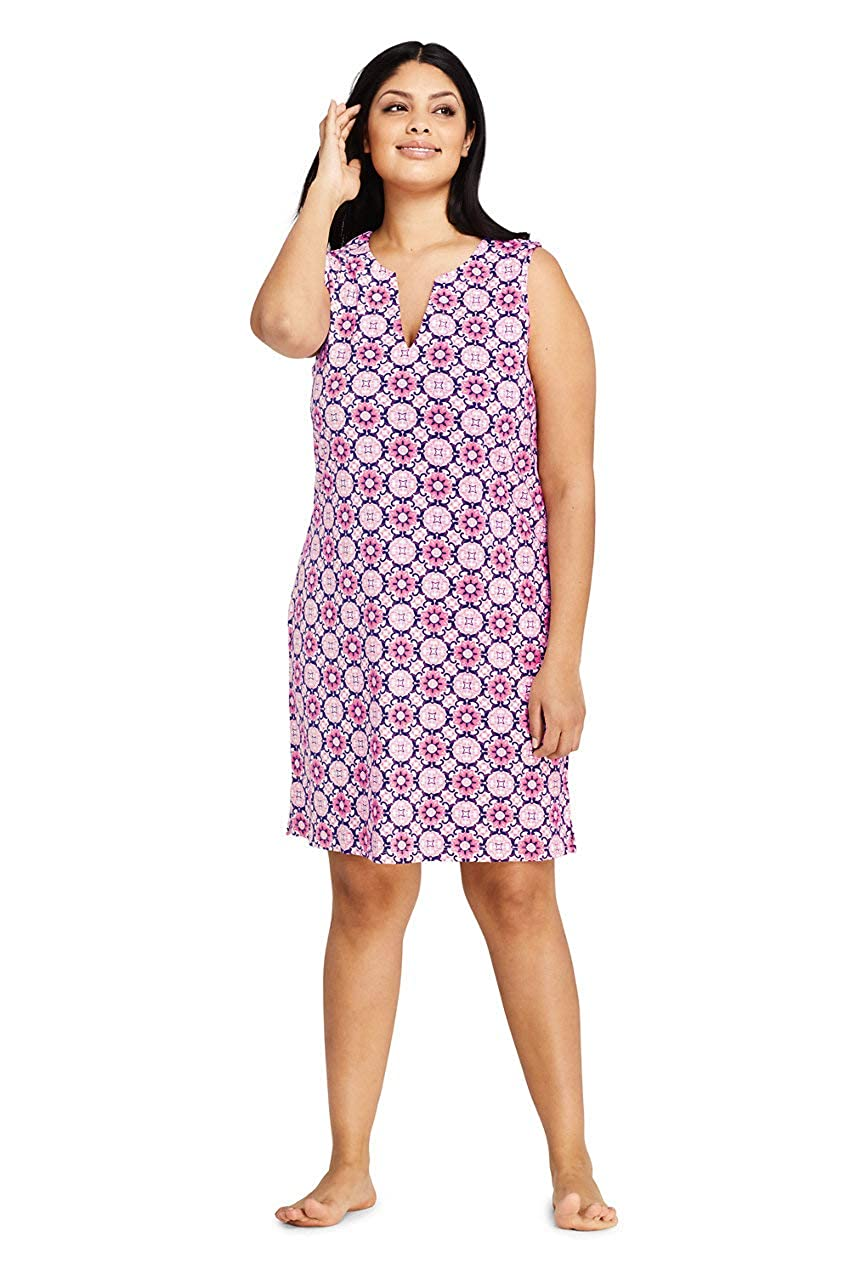 60s 70s Plus Size Dresses, Clothing, Costumes Lands End Womens Plus Size Cotton Jersey Sleeveless Swim Cover-up Dress Print $39.95 AT vintagedancer.com