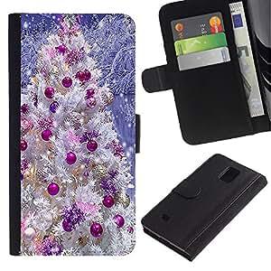 Planetar® Modelo colorido cuero carpeta tirón caso cubierta piel Holster Funda protección Para Samsung Galaxy Note 4 IV ( Adornos de árbol Violeta Blanco Nieve )