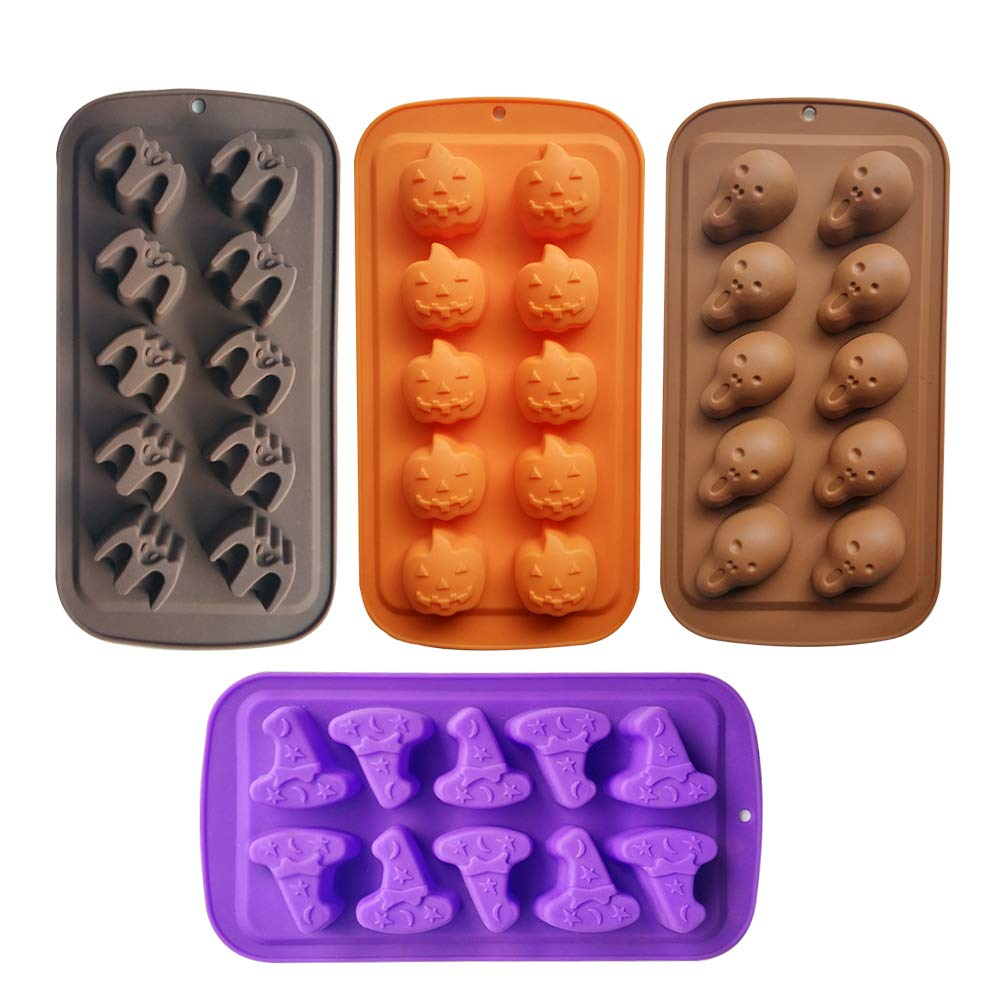 Halloween Candy Molds 4 Pcs Chocolate Molds Silicone with Ghost Pumpkin Bat & Witch Hat by Inn Diary
