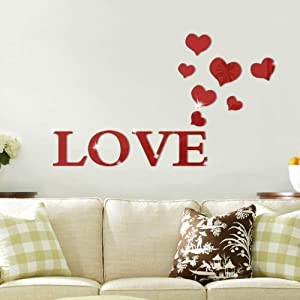 Alrens_DIY(TM) 11pcs Love Letter Hearts DIY Patterns TV Background Decor Mirror Surface Crystal Wall Stickers Acrylic 3D Home Decal Living Room Murals Wall Paper adesivo de parede (Red)