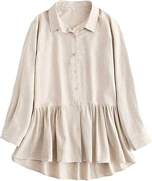 TAOtTAO - Camisas de Lino Plisadas de Manga Larga para Mujer, Color Blanco: Amazon.es: Ropa y accesorios