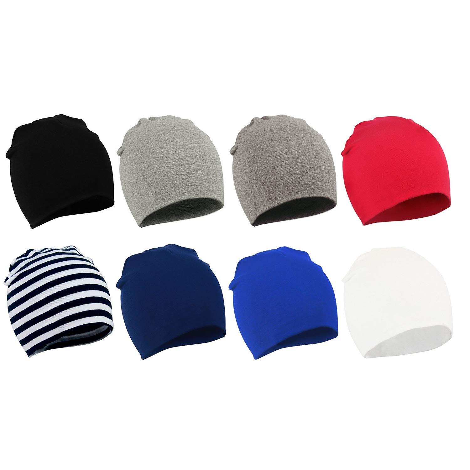 Zando Baby Hats and Caps Soft Cute Cotton Beanie Hat for Girls Boys Toddler Beanies Kids Children Gifts 8 Pack 4S Small (0-12 months) by Zando