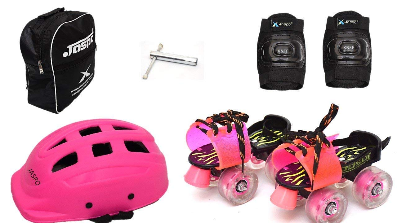 Jaspo Derby Dolls Eco Junior Adjustable Roller Skates Combo Suitable for Age Group Upto 5 Years