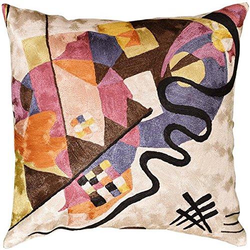 Kashmir Designs Kandinsky Ivory Decorative Pillow Cover Hand embroidered 18