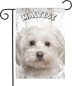 Canvas Maltese Puppy Dog Garden Flags House Indoor & Outdoor Welcome Decorations,Waterproof Polyester Yard Decorative for Game Family Party Banner